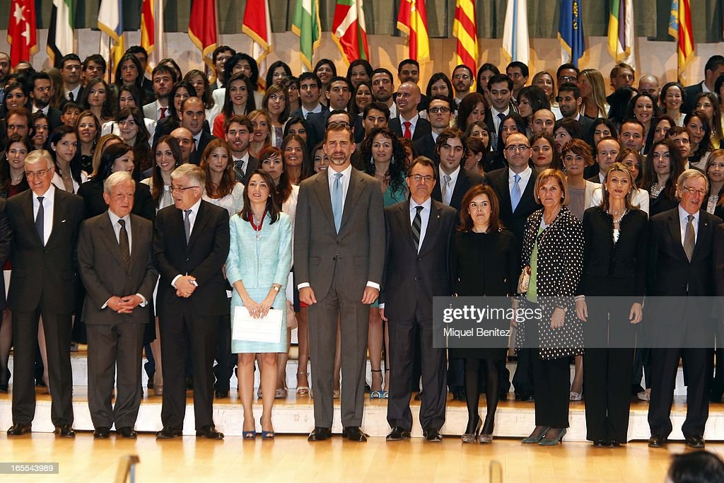 Prince Felipe of Spain, President of the Catalan regional government Artur Mas and <a gi-track='captionPersonalityLinkClicked' href=/galleries/search?phrase=Soraya+Saenz+de+Santamaria&family=editorial&specificpeople=5131705 ng-click='$event.stopPropagation()'>Soraya Saenz de Santamaria</a> attend a ceremony for recently graduated judges at the Auditori on April 4, 2013 in Barcelona, Spain.
