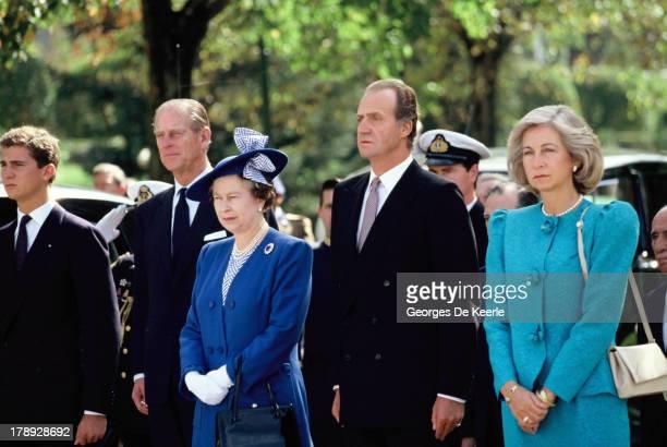 Prince Felipe of Spain Prince Philip Queen Elizabeth II King Juan Carlos I and Queen Sofia of Spain pose during a state visit of Queen Elizabeth II...