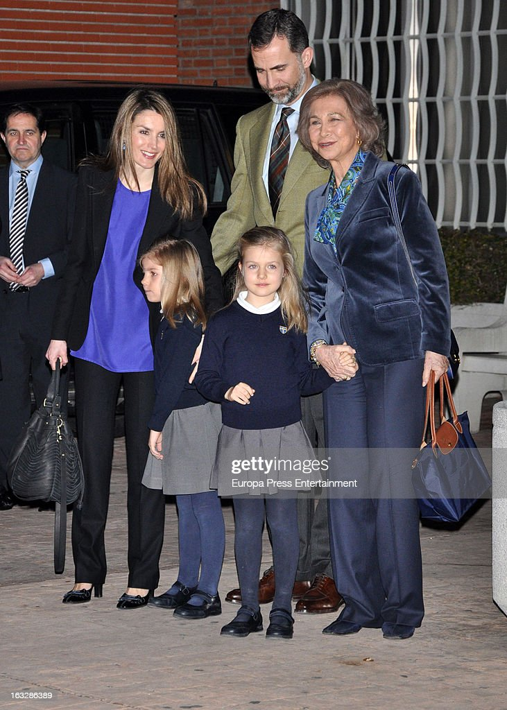 Prince Felipe of Spain, Princess Letizia and their daughters Princess <a gi-track='captionPersonalityLinkClicked' href=/galleries/search?phrase=Leonor+-+Princesa+de+Asturias&family=editorial&specificpeople=6328965 ng-click='$event.stopPropagation()'>Leonor</a> (R) and Princess Sofia (L) and Queen Sofia visit King Juan Carlos of Spain at La Milagrosa Hospital on March 6, 2013 in Madrid, Spain. King Juan Carlos of Spain underwent surgery for a lower back disc hernia yesterday. He also had hip surgery last November. The King has had several other health issues in the past two years, including knee surgery and the removal of a benign lung tumor.