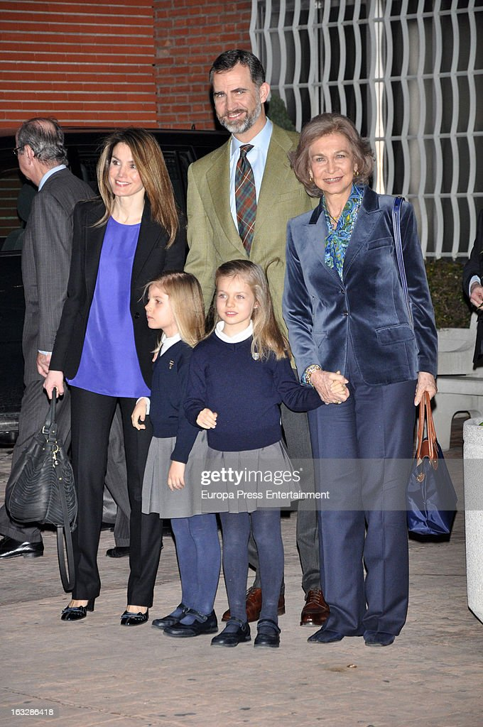 Prince Felipe of Spain, Princess Letizia and their daughters Princess <a gi-track='captionPersonalityLinkClicked' href=/galleries/search?phrase=Leonor+-+Principessa+delle+Asturie&family=editorial&specificpeople=6328965 ng-click='$event.stopPropagation()'>Leonor</a> (R) and Princess Sofia (L) and Queen Sofia visit King Juan Carlos of Spain at La Milagrosa Hospital on March 6, 2013 in Madrid, Spain. King Juan Carlos of Spain underwent surgery for a lower back disc hernia yesterday. He also had hip surgery last November. The King has had several other health issues in the past two years, including knee surgery and the removal of a benign lung tumor.