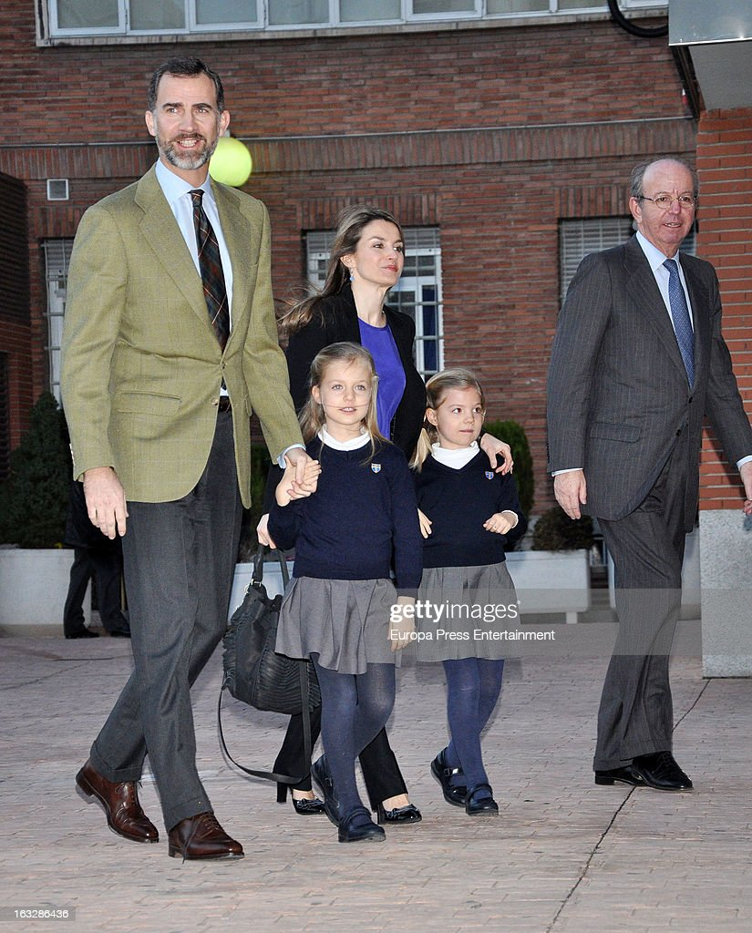 Prince Felipe of Spain, Princess Letizia and their daughters Princess <a gi-track='captionPersonalityLinkClicked' href=/galleries/search?phrase=Leonor+-+Princess+of+Asturias&family=editorial&specificpeople=6328965 ng-click='$event.stopPropagation()'>Leonor</a> (L) and Princess Sofia (R) visit King Juan Carlos of Spain at La Milagrosa Hospital on March 6, 2013 in Madrid, Spain. King Juan Carlos of Spain underwent surgery for a lower back disc hernia yesterday. He also had hip surgery last November. The King has had several other health issues in the past two years, including knee surgery and the removal of a benign lung tumor.