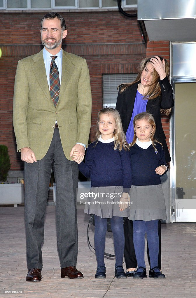 Prince Felipe of Spain, Princess Letizia and their daughters Princess <a gi-track='captionPersonalityLinkClicked' href=/galleries/search?phrase=Leonor+-+Princesa+de+Ast%C3%BArias&family=editorial&specificpeople=6328965 ng-click='$event.stopPropagation()'>Leonor</a> (L) and Princess Sofia (R) visit King Juan Carlos of Spain at La Milagrosa Hospital on March 6, 2013 in Madrid, Spain. King Juan Carlos of Spain underwent surgery for a lower back disc hernia yesterday. He also had hip surgery last November. The King has had several other health issues in the past two years, including knee surgery and the removal of a benign lung tumor.