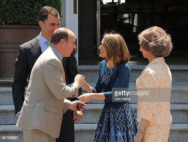 Prince Felipe of Spain Princess Letizia of Spain and Queen Sofia of Spain receive Prince Albert of Monaco at Zarzuela Palace on June 25 2008 in...