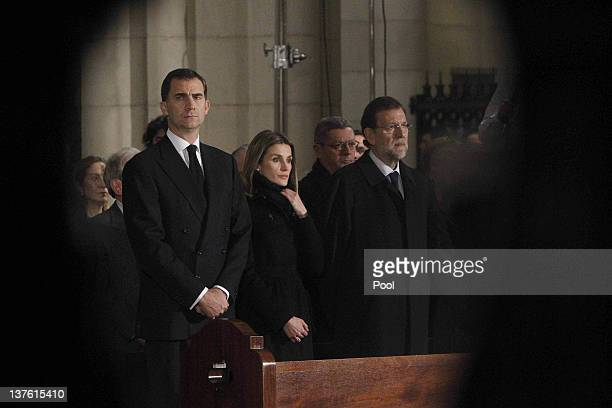 Prince Felipe of Spain Princess Letizia of Spain and Spanish Prime Minister Mariano Rajoy attend the funeral mass of Manuel Fraga Iribarne held in La...