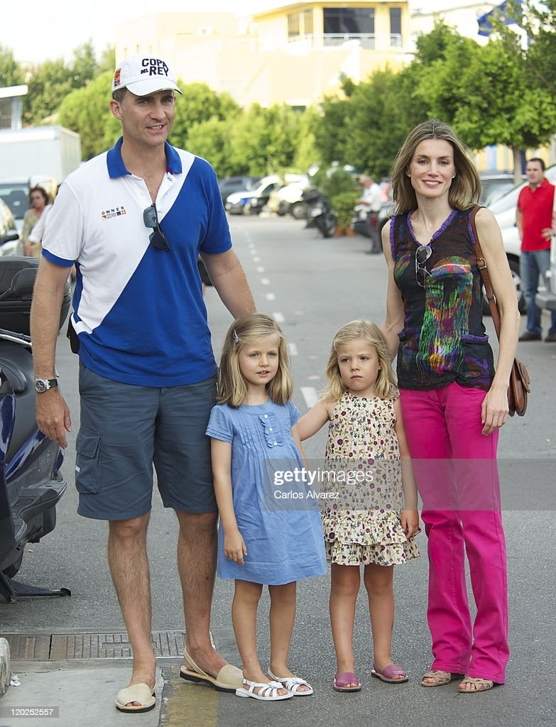 Prince Felipe of Spain, Princess Letizia of Spain and their daughters Princess Sofia (R) and Princess Leonor (L) arrive to the Real Club Nautico de Palma to attend Jaume Anglada's pop concert during the second day of 30th Copa del Rey Mapfre Audi Sailing Cup on August 2, 2011 in Palma de Mallorca, Spain.