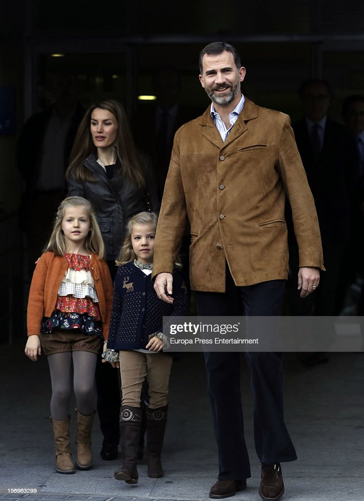 Prince Felipe of Spain, Princess Letizia of Spain and their daughters Princess Leonor (L) and Princess Sofia visit King Juan Carlos of Spain on November 25, 2012 in Madrid, Spain. King Juan Carlos of Spain underwent an operation on his left hip.