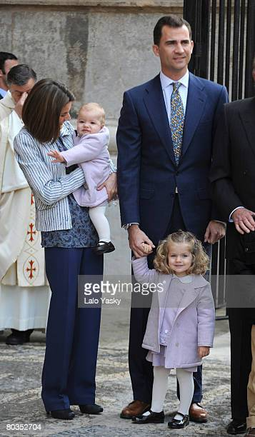 Prince Felipe of Spain Princess Letizia of Spain and their daughters Leonor and Sofia arrive at Palma de Mallorca's Cathedral to celebrate Easter...