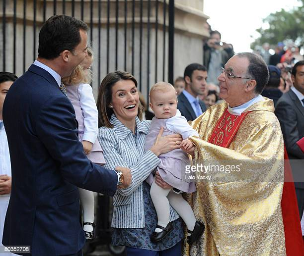 Prince Felipe of Spain Princess Letizia of Spain and their daughters Leonor and Sofia leave Palma de Mallorca's Cathedral after Easter Sunday Mass on...