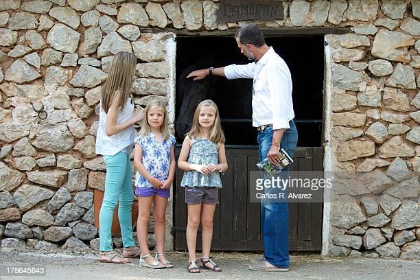 Prince Felipe of Spain Princess Letizia of Spain and their daugthers Princess Leonor of Spain and Princess Sofia of Spain visit 'La Granja' on August...