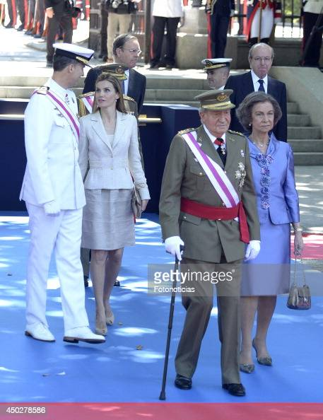 Prince Felipe of Spain Princess Letizia of Spain King Juan Carlos of Spain and Queen Sofia of Spain attend the Armed Forces Day celebration at Plaza...