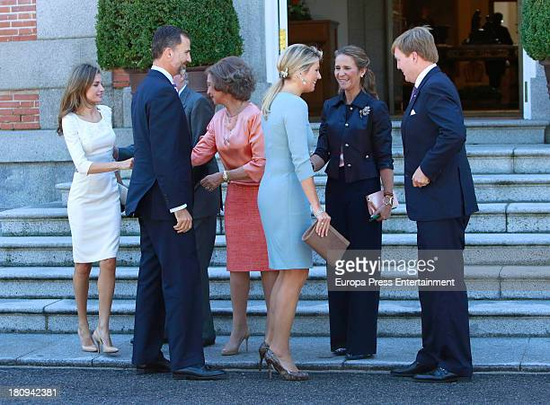 Prince Felipe of Spain Princess Letizia of Spain Queen Sofia of Spain and Princess Elena of Spain receives the visit of King Willem Alexander and...