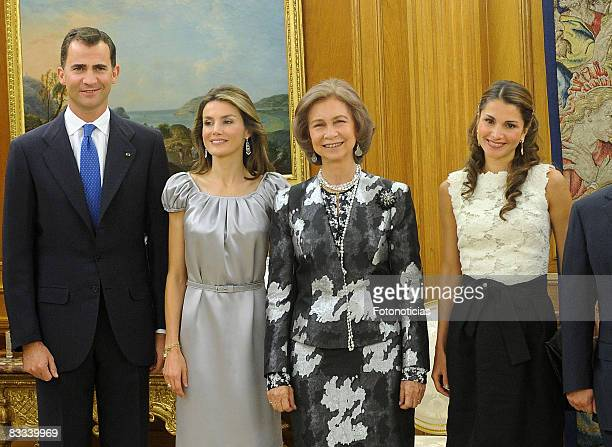 Prince Felipe of Spain Princess Letizia of Spain Quen Sofia of Spain and Queen Rania of Jordan attend the dinner honouring Jordan Royals at Zarzuela...