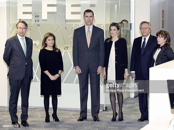 Prince Felipe of Spain Princess Letizia of Spain Soraya Saenz de Santamaria and Jose Antonio Vera attend the opening of the new headquarters of EFE...