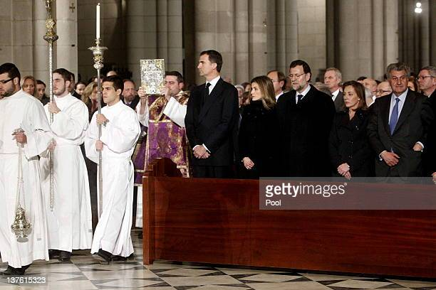 Prince Felipe of Spain Princess Letizia of Spain Spanish Prime Minister Mariano Rajoy and his wife Elvira Fernandez attend the funeral mass of Manuel...