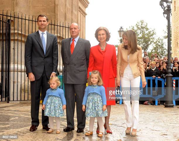 Prince Felipe of Spain Princess Sofia King Juan Carlos of Spain Queen Sofia of SpainPrincess Leonor and Princess Letizia of Spain attend Easter Mass...