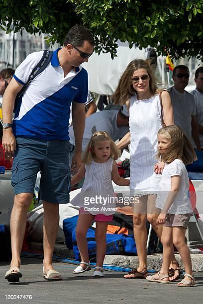 Prince Felipe of Spain Princess Sofia of Spain Princess Letizia of Spain and Princess Leonor of Spain attend 30th Copa del Rey Audi Mapfre Sailing...