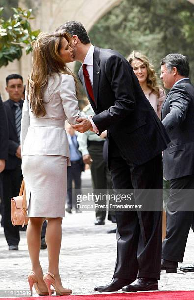 Prince Felipe of Spain Queen Rania of Jordan Princess Letizia of Spain and King Abdullah of Jordan at the Royal Palace on April 13 2011 in Amman...