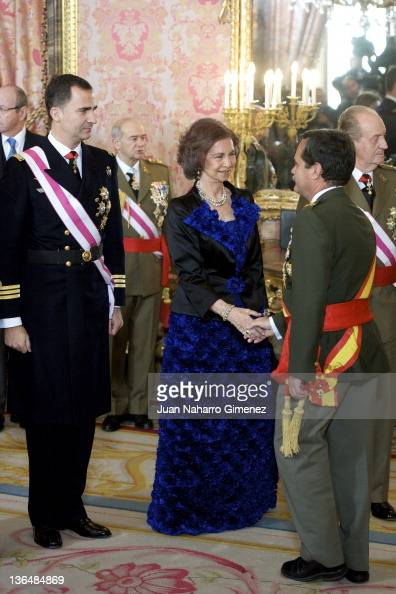 Prince Felipe of Spain Queen Sofia of Spain and King Juan Carlos I of Spain attend the Pascua Militar Ceremony at Royal Palace on January 6 2012 in...