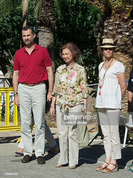 Prince Felipe of Spain Queen Sofia of Spain and Princess Elena of Spain visit the Fire Control Center on July 31 2013 in Andratx Mallorca Spain