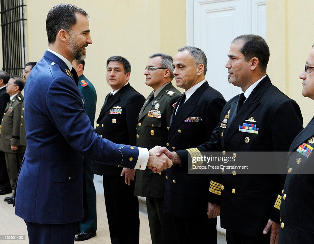 Prince Felipe of Spain receives a group of brigadier generals and admirals on February 28, 2013 in Madrid, Spain.
