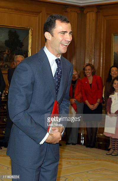 Prince Felipe of Spain receives a group of children members of an educational program of the childhood benefit organization Aldeas Infantiles SOS