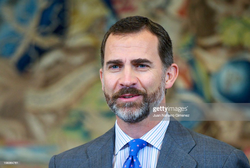 Prince Felipe of Spain receives Asociacion Mensajeros de la Paz at Zarzuela Palace on December 14, 2012 in Madrid, Spain.