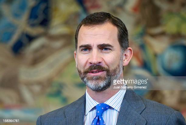 Prince Felipe of Spain receives Asociacion Mensajeros de la Paz at Zarzuela Palace on December 14 2012 in Madrid Spain