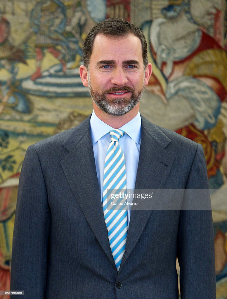 Prince Felipe of Spain receives Chairman of the NATO Military committee, General Knud Bartels at Zarzuela Palace on March 15, 2013 in Madrid, Spain.