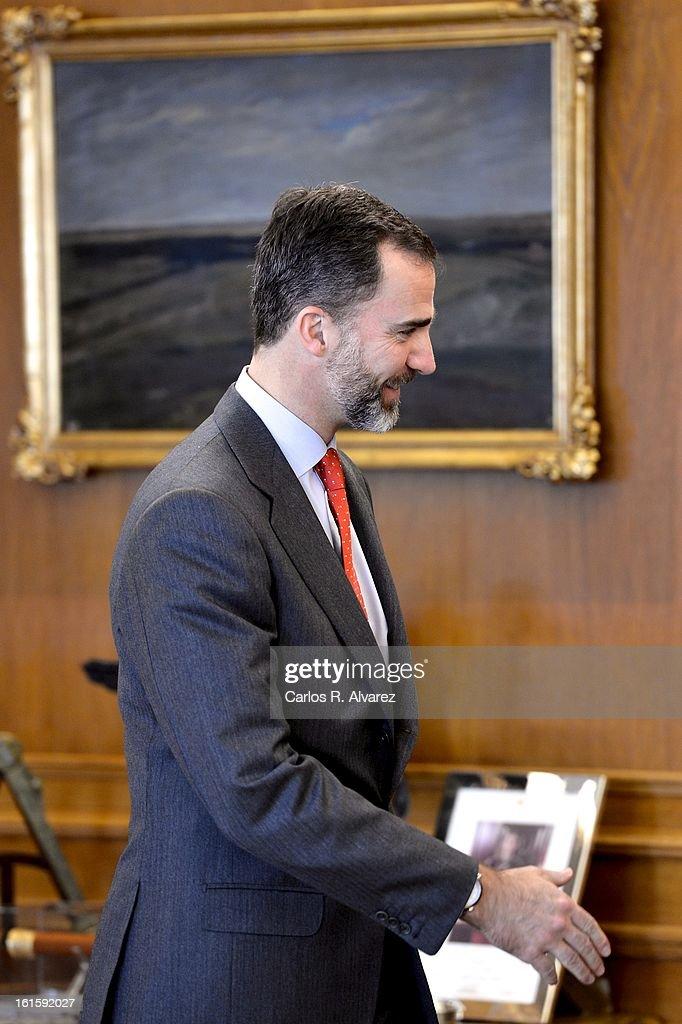 Prince Felipe of Spain receives former Chilean President Ricardo Lagos (L) at Zarzuela Palace on February 12, 2013 in Madrid, Spain.