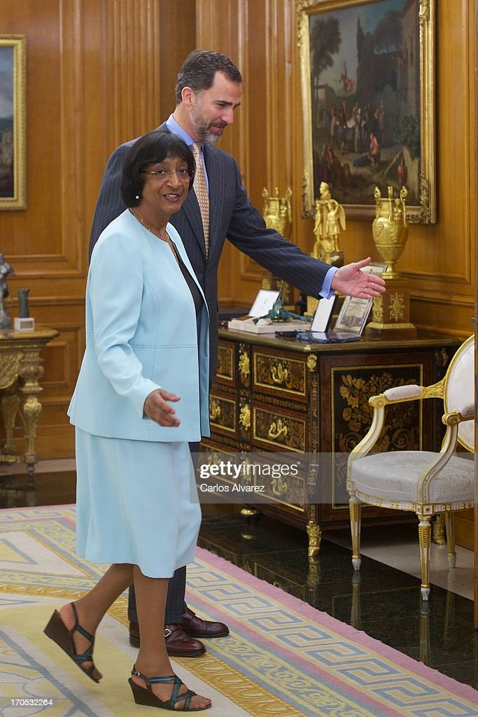 Prince Felipe of Spain receives United Nations High Commissioner for Human Rights Navanethem Pillay at Zarzuela Palace on June 14, 2013 in Madrid, Spain.
