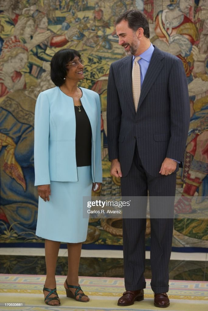 Prince Felipe of Spain receives United Nations High Commissioner for Human Rights <a gi-track='captionPersonalityLinkClicked' href=/galleries/search?phrase=Navanethem+Pillay&family=editorial&specificpeople=5450761 ng-click='$event.stopPropagation()'>Navanethem Pillay</a> at Zarzuela Palace on June 14, 2013 in Madrid, Spain.