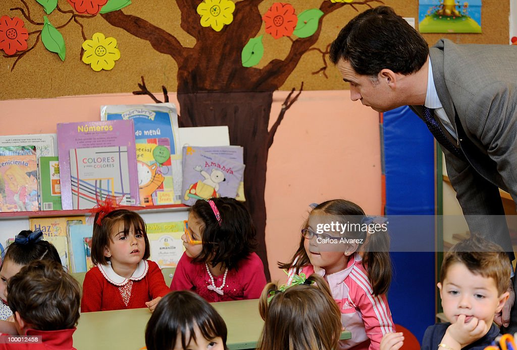 Prince Felipe of Spain visits 'Infanta Leonor' school on May 20, 2010 in Castrillon, Asturias, Spain.