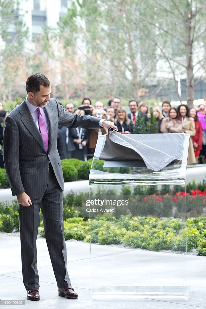 Prince Felipe of Spain visits the new Repsol Headquarters on January 31, 2013 in Madrid, Spain.
