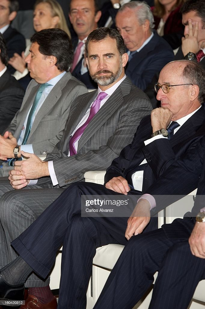 Prince Felipe of Spain (C) visits the new Repsol Headquarters on January 31, 2013 in Madrid, Spain.