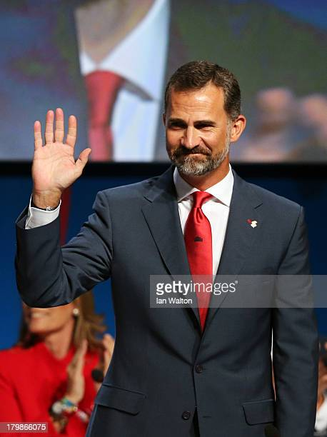Prince Felipe of Spain waves during the Madrid 2020 bid presentation during the 125th IOC Session 2020 Olympics Host City Announcement at Hilton...