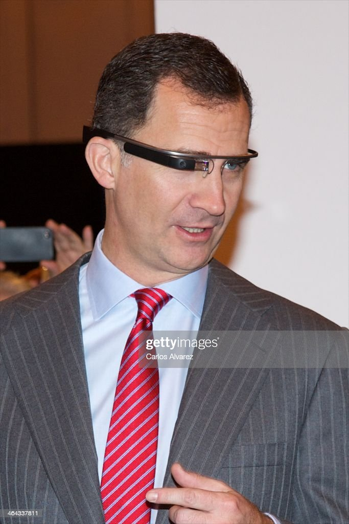 Prince Felipe of Spain wears an google glass during the 'Fitur' International Tourism Fair opening at Ifema on January 22, 2014 in Madrid, Spain.