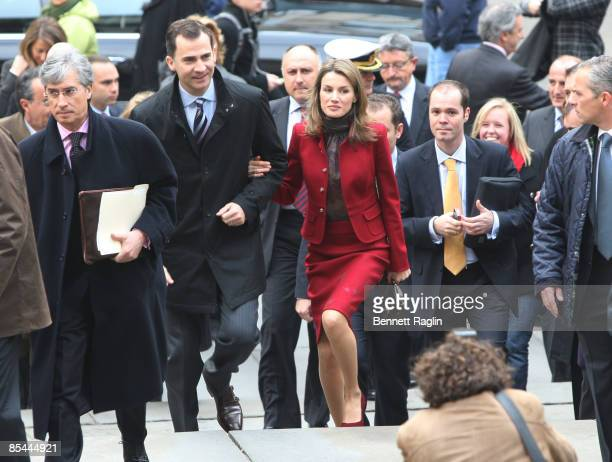 Prince Felipe Prince of Asturias and Princess Letizia tour The New York Public Library on March 16 2009 in New York City