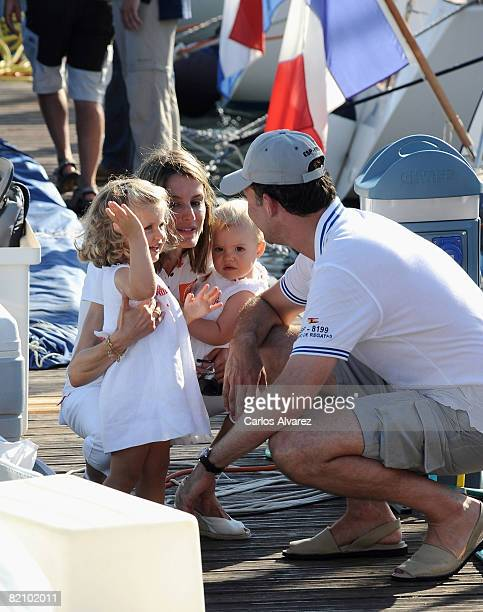 Prince Felipe Princess Letizia and daugthers Princess Leonor and Princess Sofia at the 'Club Nautico' during the second day of 27th Copa del Rey...