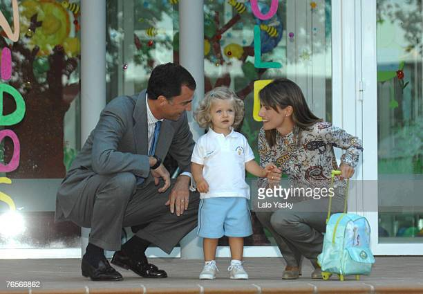 Prince Felipe Princess Letizia and their daughter Leonor arrive to the Royal Guard Kindergarden for Leonors first day in school on September 7 2007...