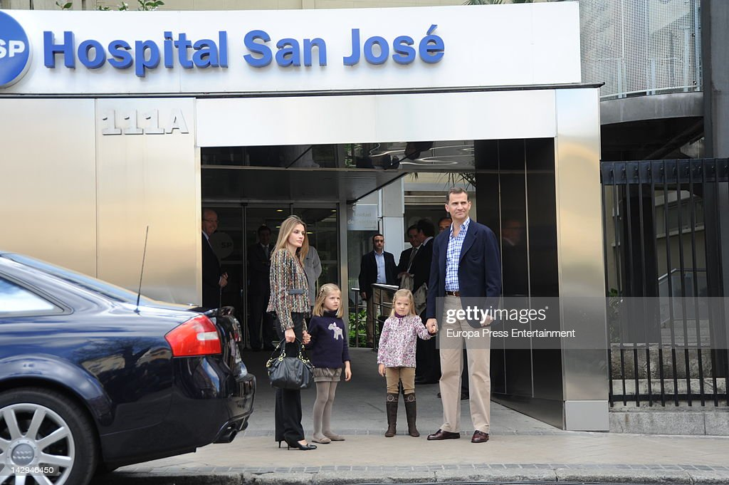 Prince Felipe, Princess Letizia and their daughters Princess Leonor (2L) and Princess Sofia (2R) visit King Juan Carlos of Spain at USP San Jose Hospital on April 15, 2012 in Madrid, Spain. The Spanish King had hip surgery yesterday after fracturing it during a elephant-hunting trip in Botswana.