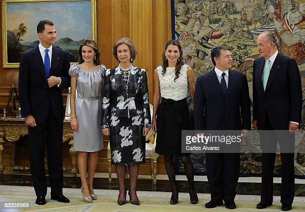 Prince Felipe Princess Letizia Queen Sofia of Spain Queen Rania King Abdullah of Jordan and King Juan Carlos of Spain at the Zarzuela Palace on...