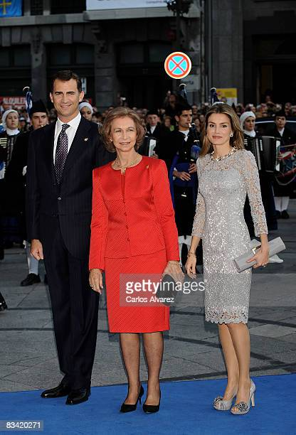 Prince Felipe Queen Sofia and Princess Letizia of Spain arrive at the Prince of Asturias Award Ceremony on October 24 2008 at the 'Campoamor' Theatre...