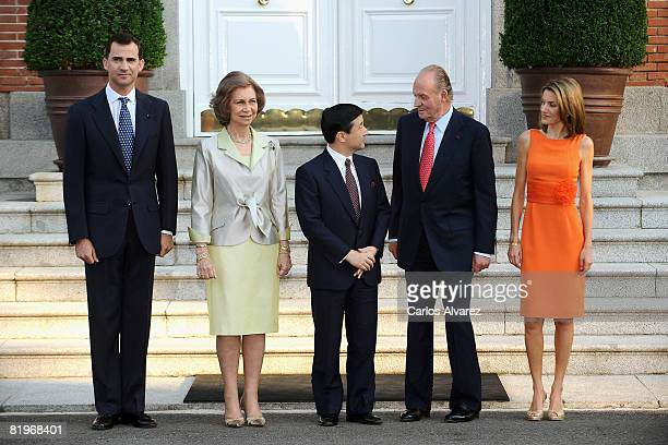 Prince Felipe Queen Sofia King Juan Carlos of Spain and Princess Letizia receive the Crown Prince Naruhito of Japan at the Zarzuela Palace Palace on...