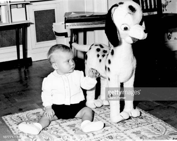Prince Felipe son of Prince Juan Carlos of Borbon and Sofia of Greece plays in the Zarzuela Palace Second December 1969 Madrid Spain