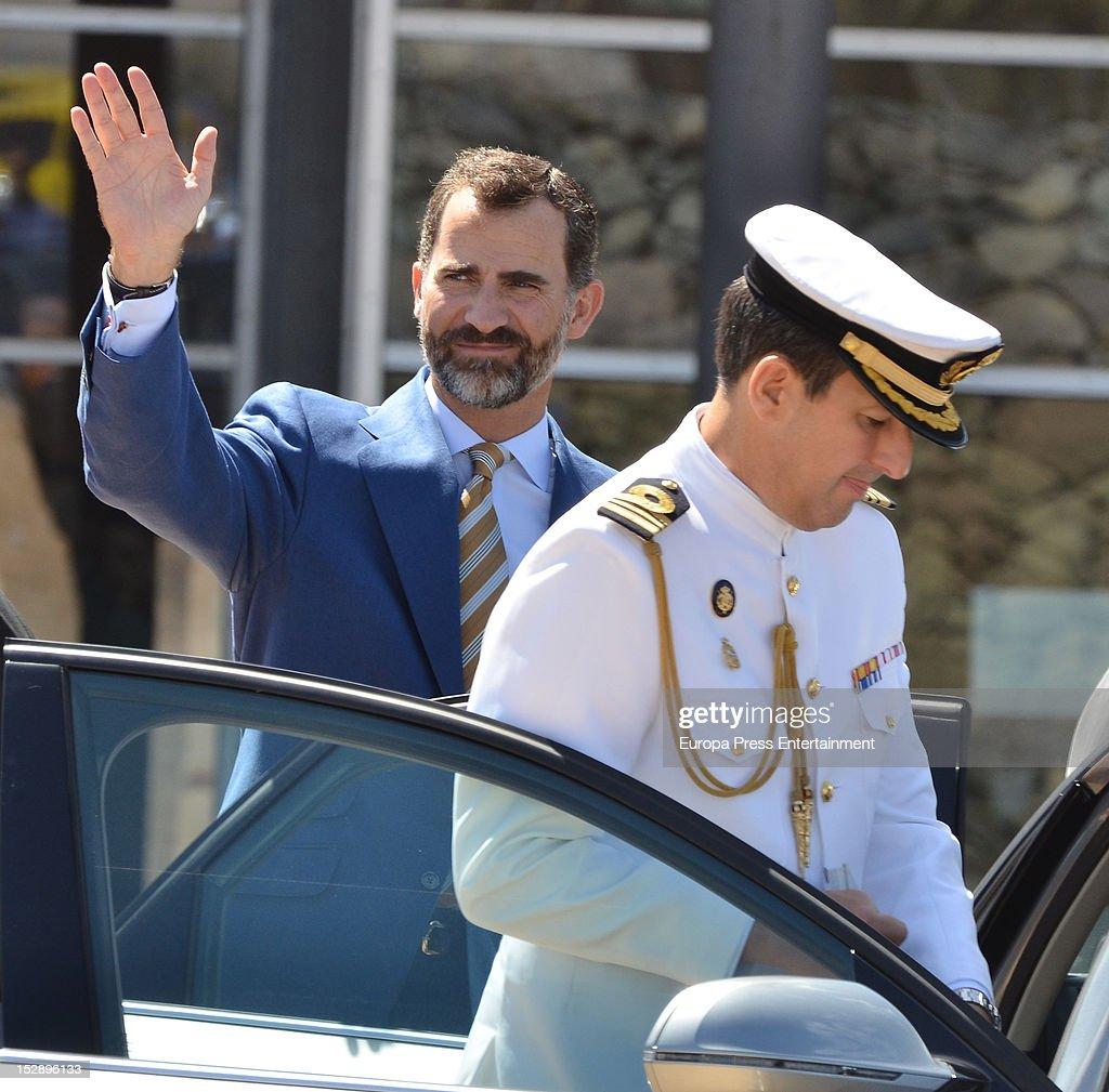 Prince Felipe visits La Gomera on September 27, 2012 in La Gomera, Spain.