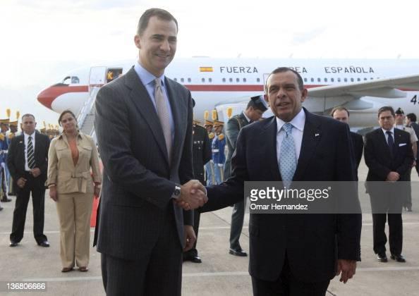 Prince Felipe with Porfirio Lobo Sosa president of Honduras during his visit to Honduras on January 11 2012 in Tegucigalpa Honduras