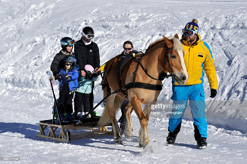 Prince Felix of Denmark, Prince Henrik of Denmark, Prince Nikolai of Denmark and Princess Athena of Denmark attend the Danish Royal family annual skiing photocall whilst on holiday on February 10, 2015 in Col-de-Bretaye near Villars-sur-Ollon, Switzerland.