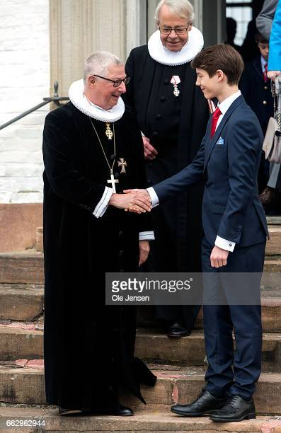 Prince Felix of Denmark son of Prince Joachim and former wife Countess Alexandra and Royal Priest Erik Norman Svendsen at the Fredensborg Palace...