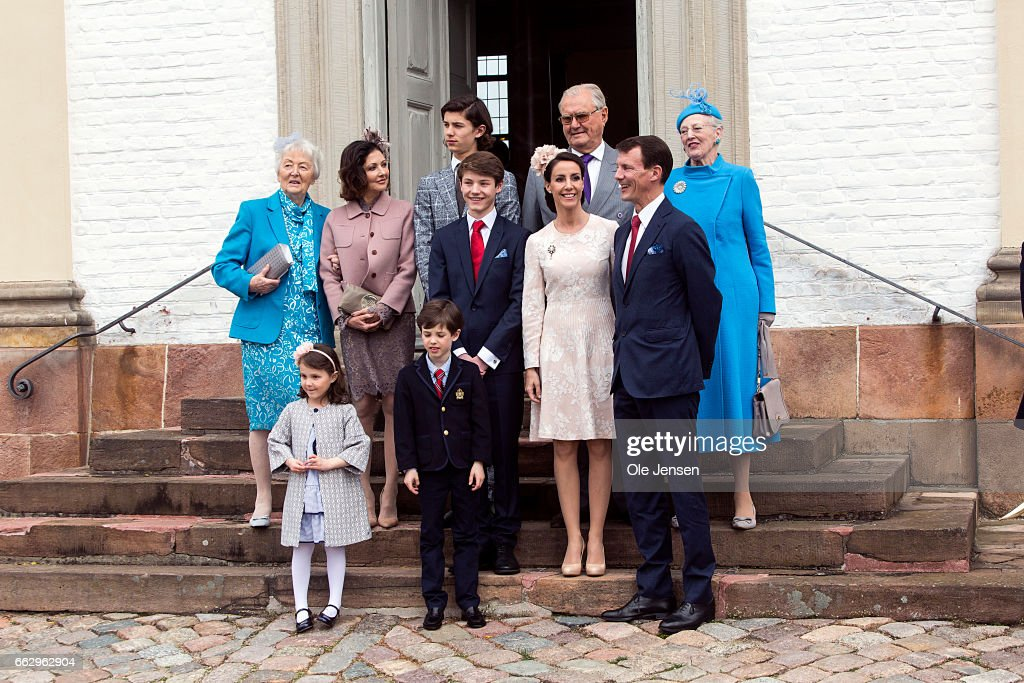 Prince Felix of Denmark (C), son of Prince Joachim (R - 1st) and former wife Countess Alexandra (L - 2nd), together with Queen Margrethe and Prince consort Henrik and Prince Nikolaj at the Fredensborg Palace church after his confirmation on April 1, 2017 in Fredensborg, Denmark. Prince Felix is 14 years old and number 8 in succession to the throne.