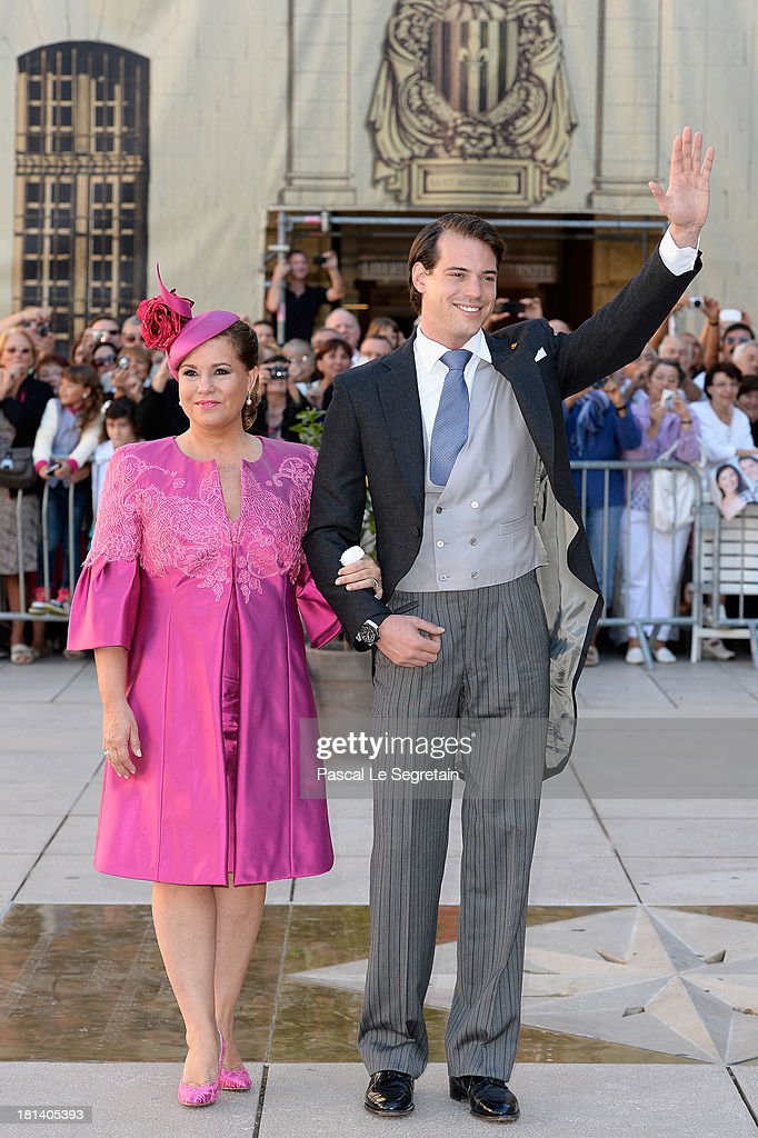 Prince Felix Of Luxembourg and <a gi-track='captionPersonalityLinkClicked' href=/galleries/search?phrase=Grand+Duchess+Maria+Teresa&family=editorial&specificpeople=159000 ng-click='$event.stopPropagation()'>Grand Duchess Maria Teresa</a> attend the Religious Wedding Of Prince Felix Of Luxembourg & Claire Lademacher at the Basilique Sainte Marie-Madeleine on September 21, 2013 in Saint-Maximin-La-Sainte-Baume, France.